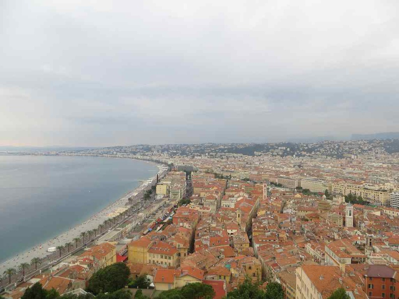 View of Nice beach line and old town from the castle hill
