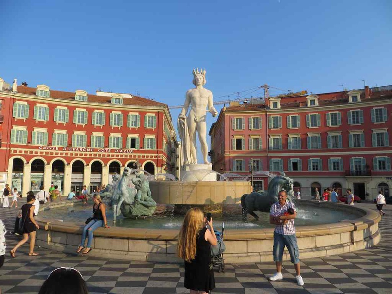 Nice France Place Massena, with fountain of the Sun statue sits at the center of the square