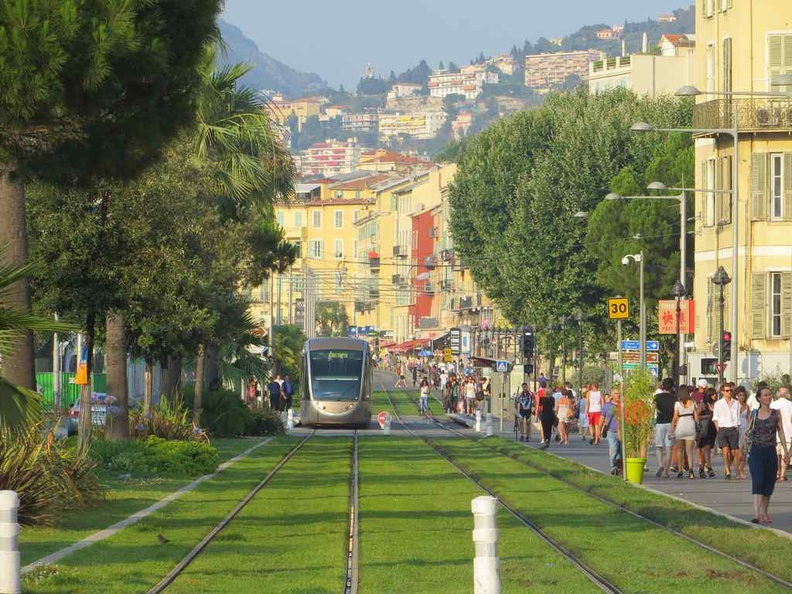 Trams and buses are the way to get around the city, Nice France