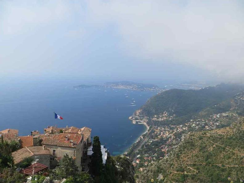 View of Le Jardin d'Èze, Frnech Riviera coastal hill top town along the Cote d azur