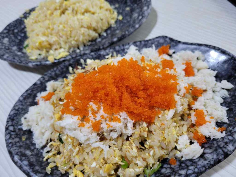 King of fried rice specialises in only fried rice dishes, available in various flavours and toppings, such as crab and fish roe as pictured