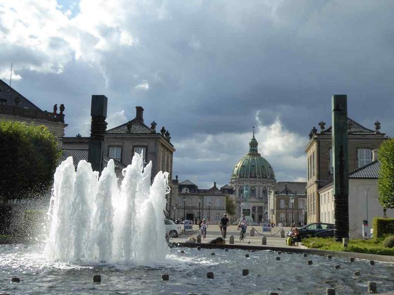 Copenhagen Denmark Amalienborg Palace and park fountains