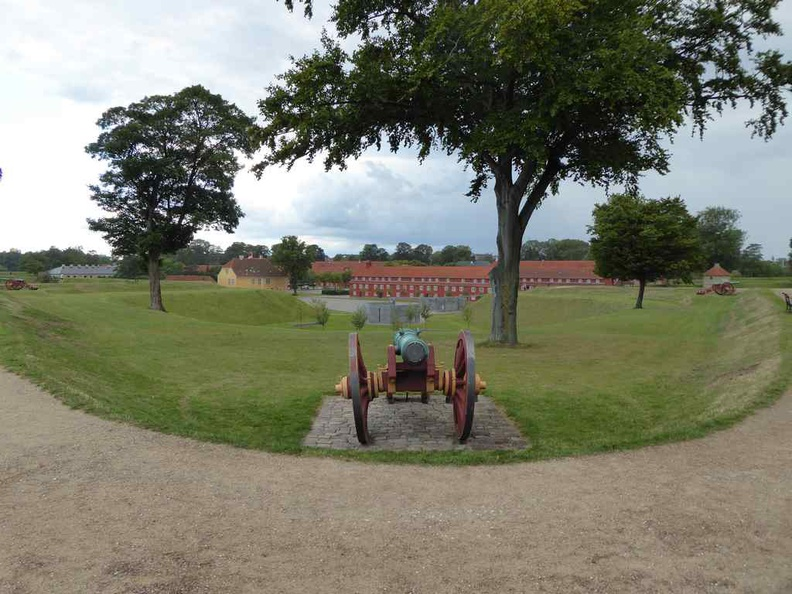 Copenhagen Denmark Kastellet island fortress with cannon and the barracks in the background