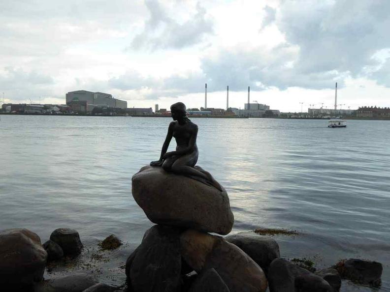 Copenhagen Denmark Genetically Modified Little Mermaid statue by the river