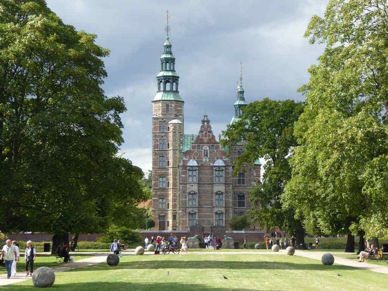Copenhagen Denmark Rosenborg Castle viewed from the gardens in the summer
