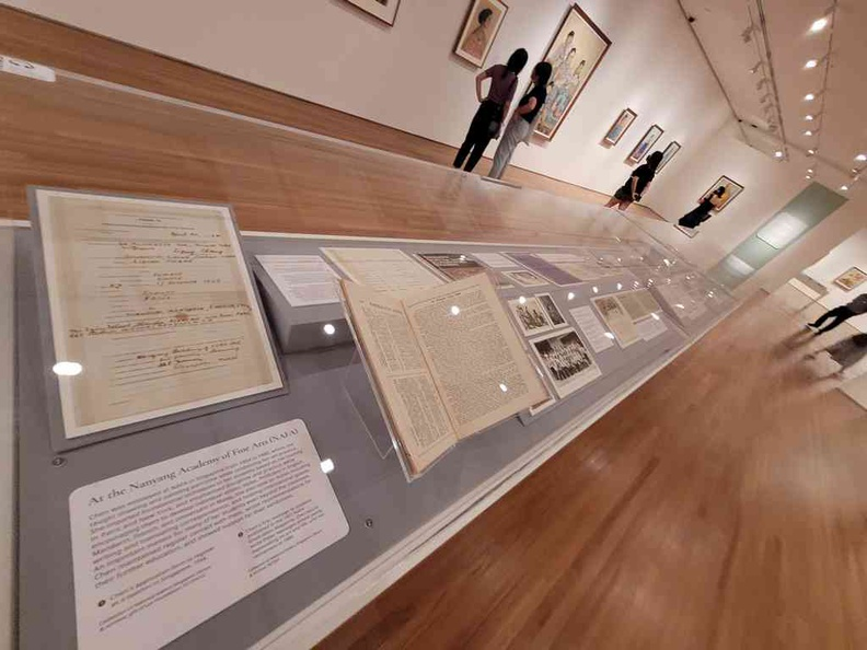 Various documents on display documenting various parts of Chen's life