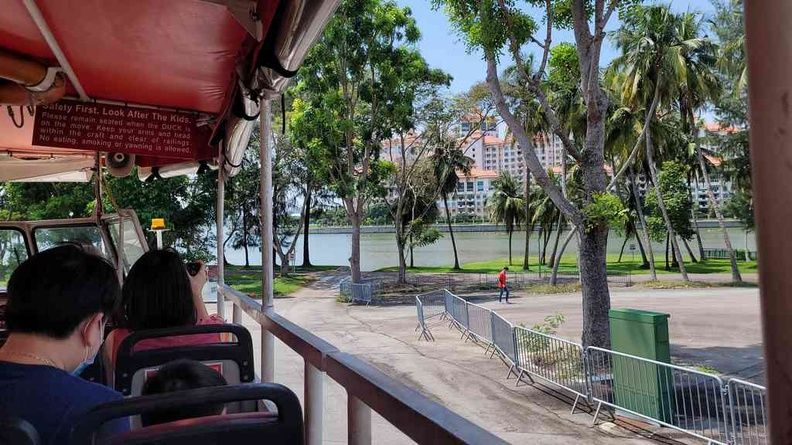 The Duck Tours vehicle entering the water