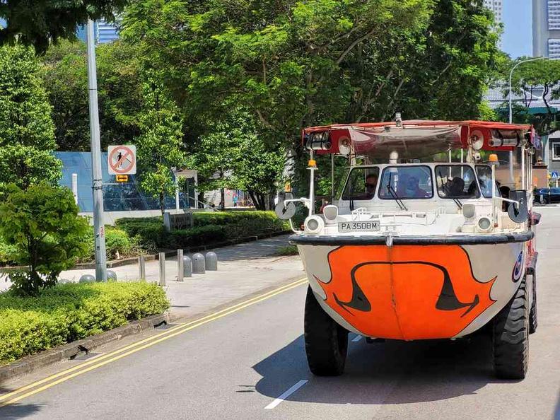 The Duck Tours LARC-5 amphibious military vehicle, now as a loyal duck excursion bus-boat