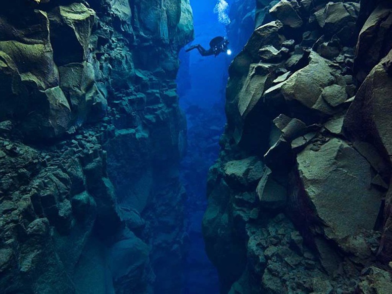 Photo of diving between the Silfra Crack