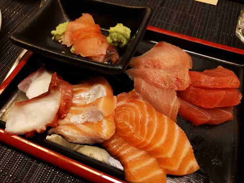 Sashimi servings with fresh octopus