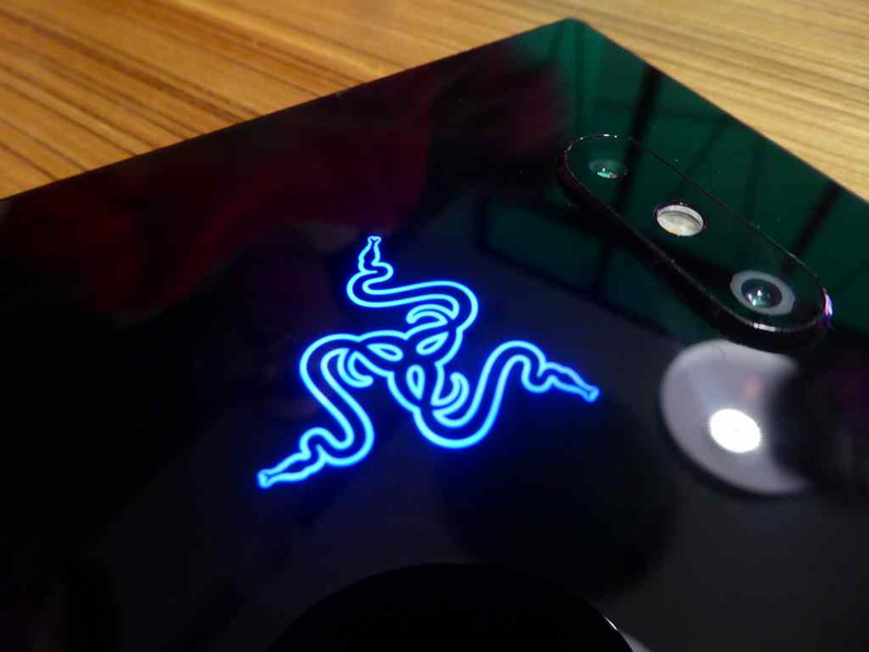 Close up of the rear Razer chroma logo