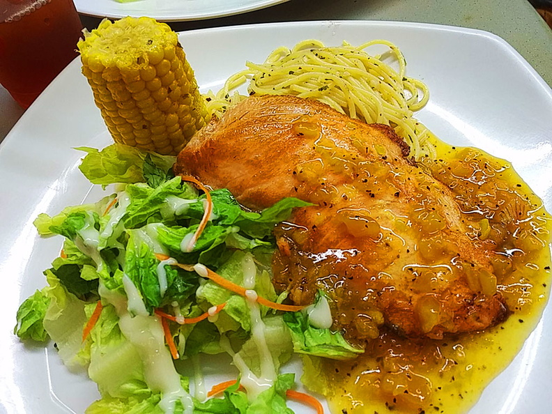 Their grilled salmon with the usual servings of corn and pasta