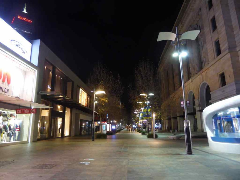 The main shopping district void of people at night