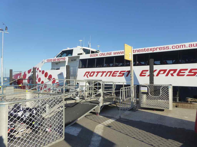Rottnest Express, one of the major ferry operators which does regular scheduled trips to and fro from the island. There are more ferries catered to in the mornings and fro in the late afternoons