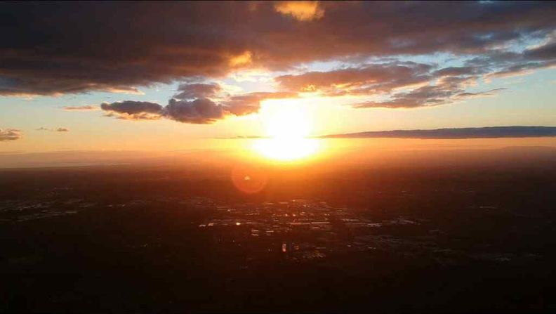 Aerial view of the sunset from Mount Dandenong with the city of Melbourne in the foreground