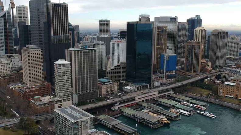 Sights of Darling Harbour with the Sydney central business district in the background