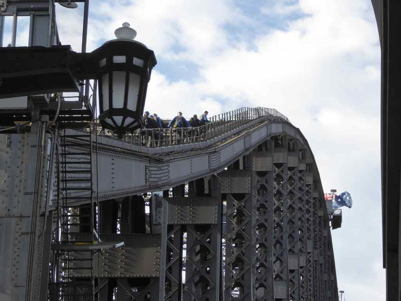 Climbers doing the bridge climb tours on the top of the Harbour bridge
