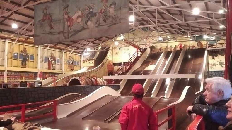 Slides inside the Coney Island funny land indoor amusement area