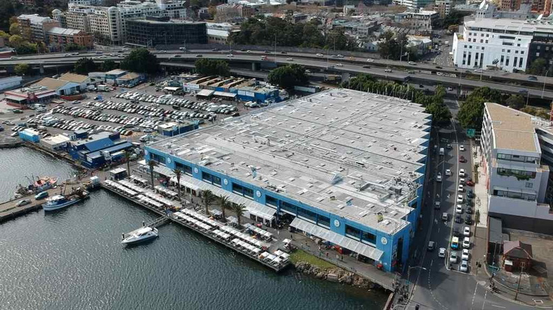 Aerial view of Sydney Fish Market at the Blackwattle Bay region