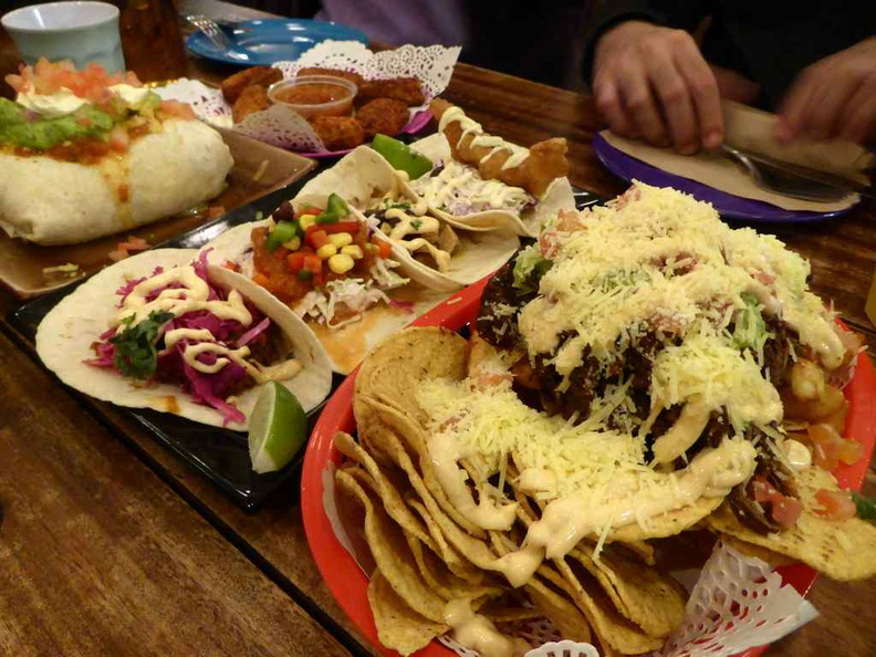 The food spread, everything Mexican and loaded with heaps of shredded cheese