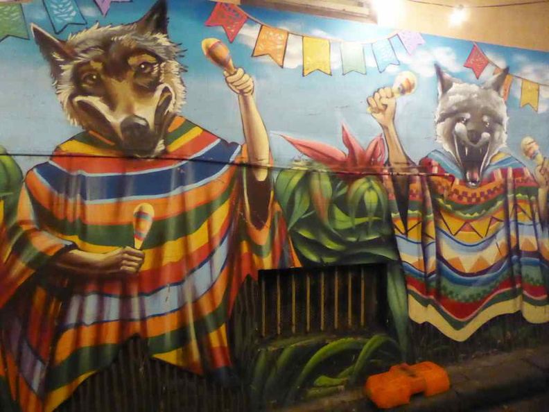 The two wolves wall murals along Grafton lane at the rear of the establishment