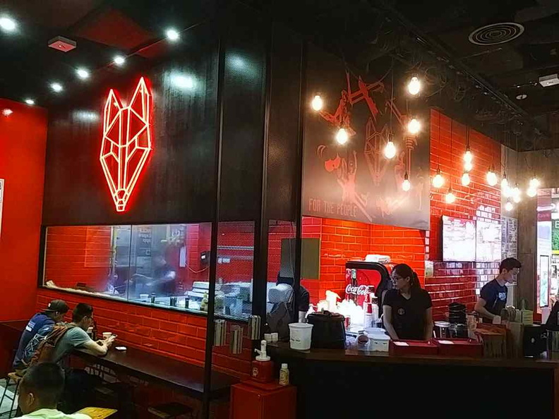 The interior of the Wolf Burgers with their very own outlet at Changi City Point
