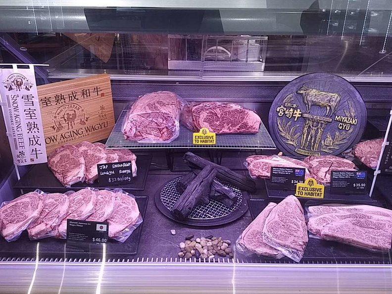 Premium Wagyu beef with exclusive Habitat items on sale at the deli butcher counter