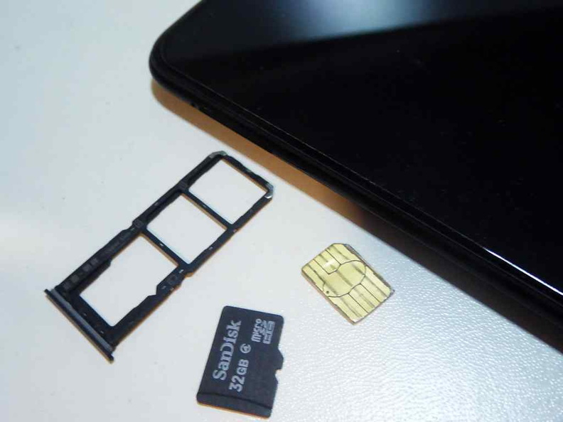 The 3 slot card tray can take 2 SIM cards in addition to a MicroSD storage expansion card