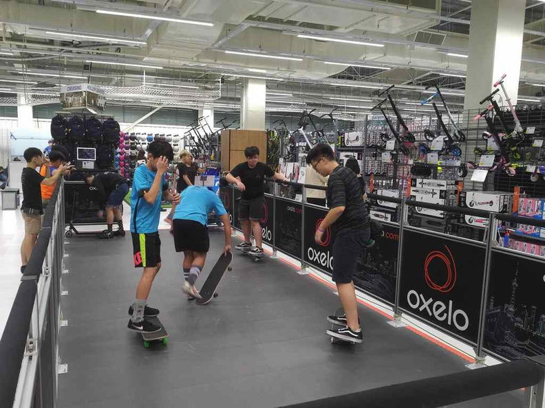 The in-line skating, scooter and skateboard test sector, tad small but still a hit with kids in store