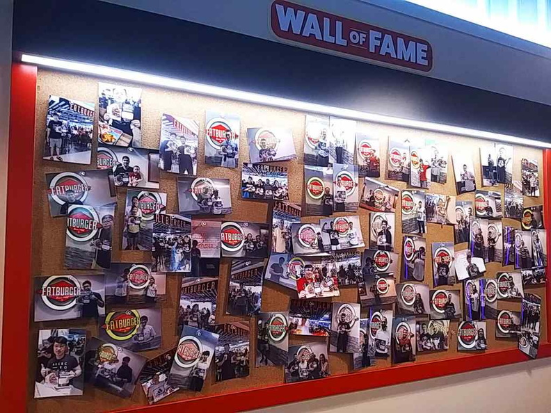 The Fat burger Wall of fame, are you up to the challenge? Though there is no monetary reward, bummer!