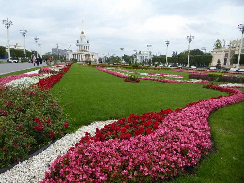The lush flower gardens in VDHKh