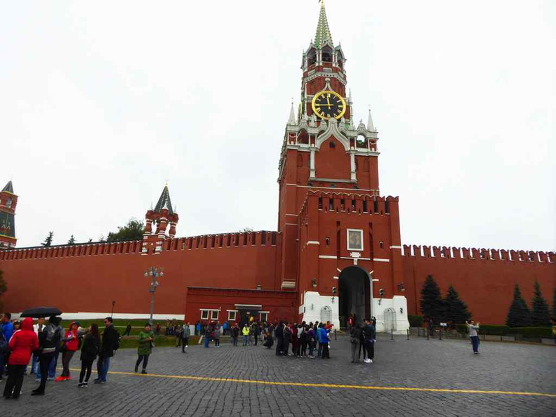 The The Spasskaya Tower (Saviour Tower) at the Red Square. It chimes at regular intervals over the open grounds