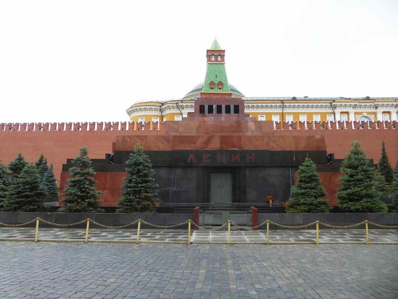 The front entrance of Lenin's Mausoleum in front of the Kremlin walls on the Red Square