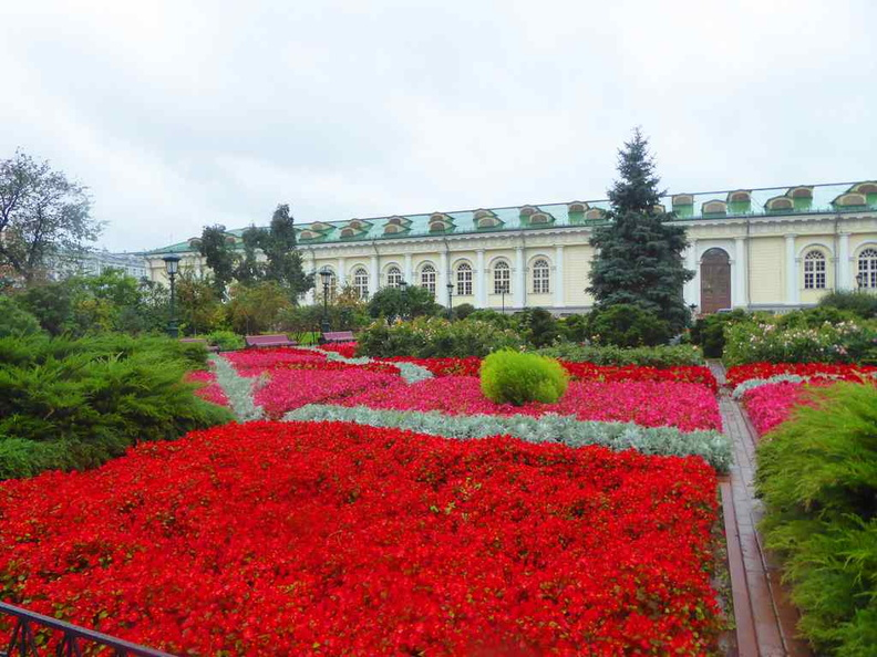 Beautiful flowerbeds through the kremlin Alexander gardens