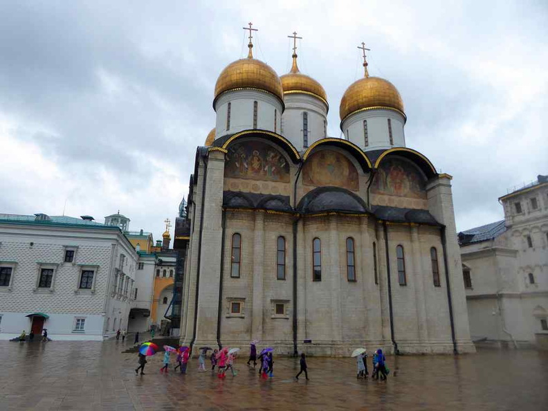 The Dormition Cathedral, Russian Orthodox cathedral in the Moscow Kremlin, dating back to the 14th century with golden domes