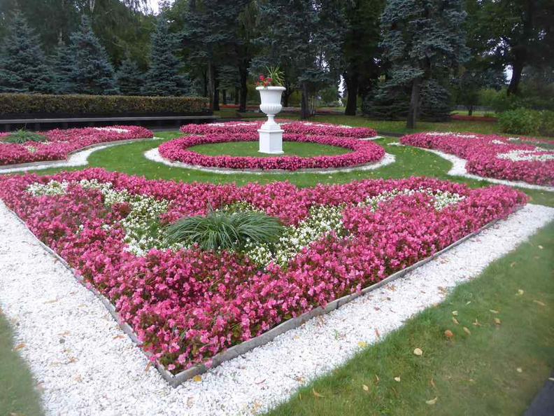 Beautiful flower gardens in the Bol'shoy Kremlovskiy Square situated by the Ivanovskaya prade square