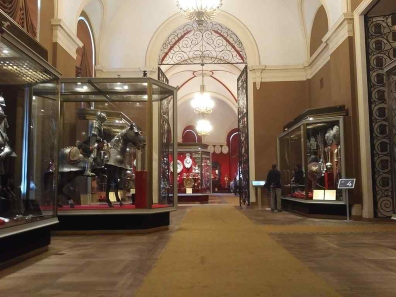Long corridors in the Armory galleries. Here we have medieval Armour and weapons leading into the plate and pottery galleries