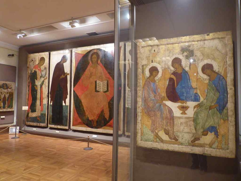 Andrei Rublev, Trinity (1411) on display in the religious galleries