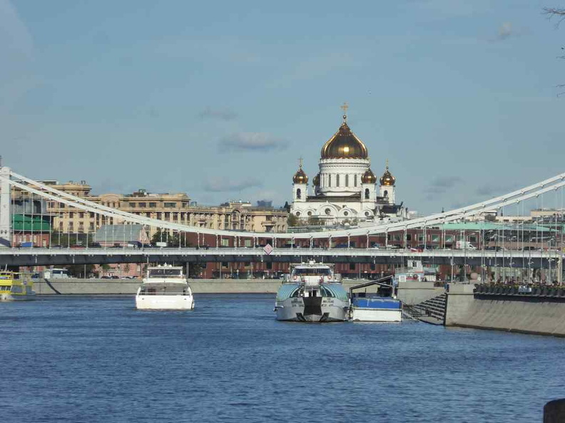 View of the Cathedral of Christ the Saviour along the Moscow river
