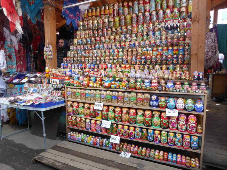 Hand-painted Russian doll section. There are several of these stores around which you can compare prices from. They usually have the same starting prices but can be vastly different after bargaining.