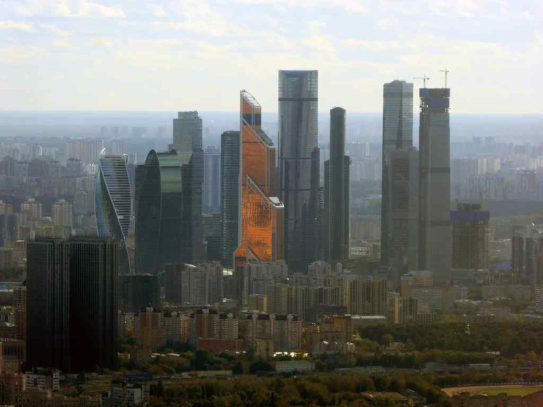 Zoom in of the Moscow city district area from the observation deck