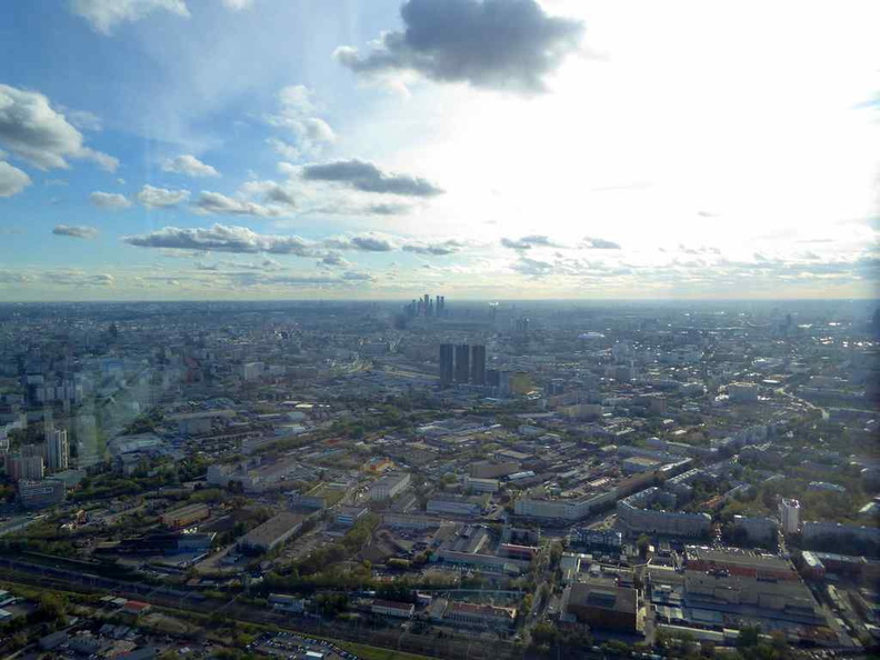 The full 360 panoramic views on top of the Ostankino TV tower observation deck