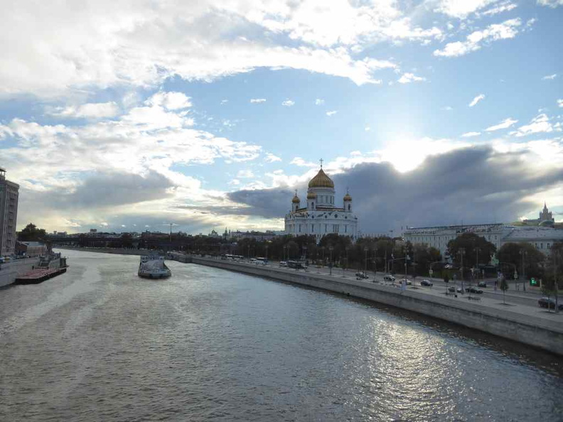 The beautiful Moscow river with the Cathedral of Christ the Saviour in background