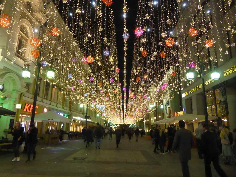 Fancy night light up over the pedestrian walkways in the Kuznetsky Most shopping area