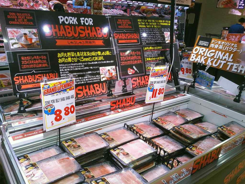 Frozen meats section and plenty of Shabu Shabu options