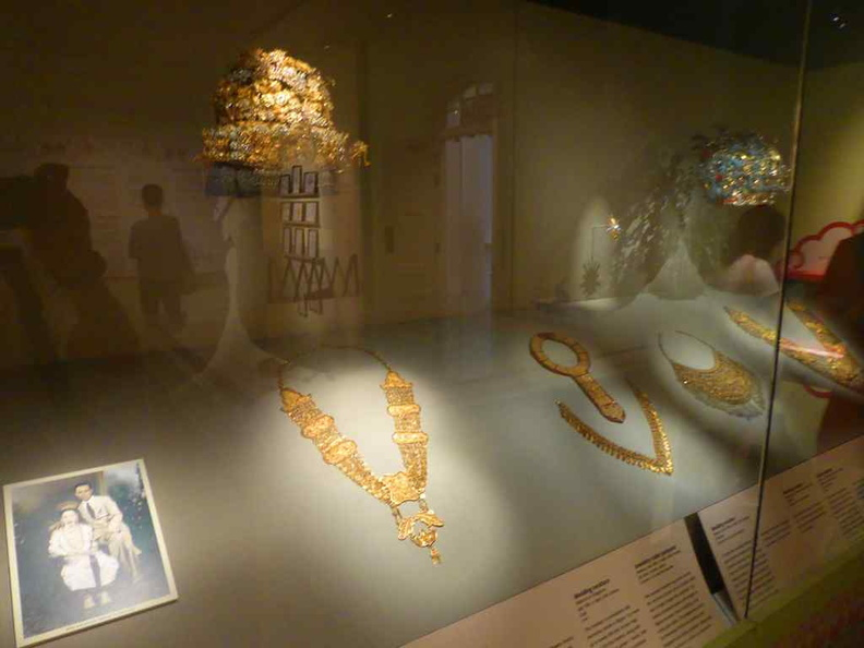 Jewelry and artifacts donated to the museum. Peranakan jewellery have a mix of Chinese, Indian designs on them