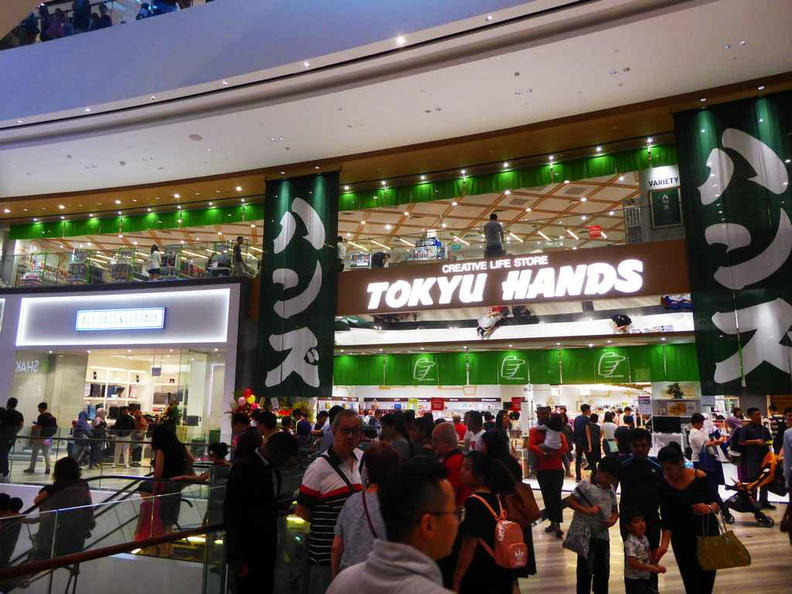 Big brand stores like Tokyu hands with their large flagship store by the ground floor entrance