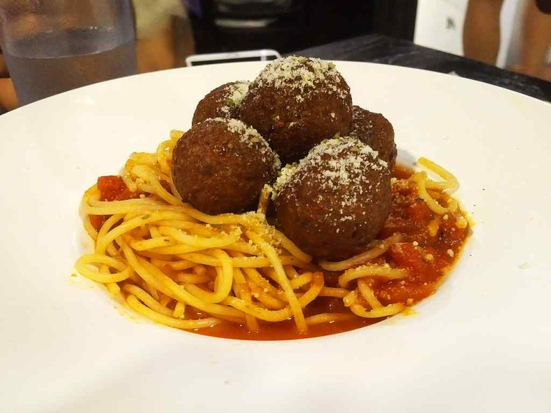 Impossible spaghetti with meatballs. The meatballs are decent, but not so much for the spaghetti