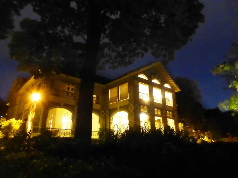 The exterior of the Eden hall at night