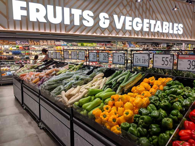 The supermarket's fruit and vegetables section is extensive and stocked full of fresh produce
